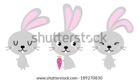 Adorable cute spring Easter Bunnies isolated on white  - stock vector