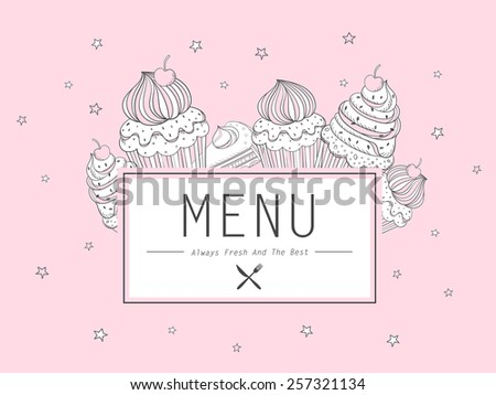 adorable dessert menu design with cupcakes in pink - stock vector