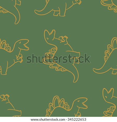 Adorable Dinosaurs Seamless Pattern Wallpapers Pattern Stock Vector