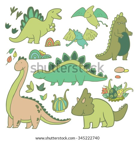 Adorable dinosaurs vector set - stock vector