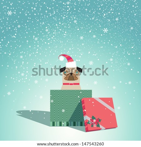Adorable dog wearing Santa hat sits in Christmas gift box. Vector EPS 10 illustration.   - stock vector
