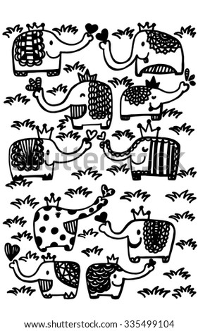 adorable elephants group gather in prairies in hand drawn style - stock vector