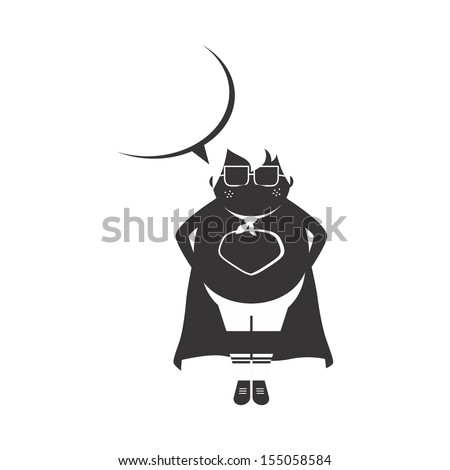 adorable fat boy super hero silhouette - stock vector