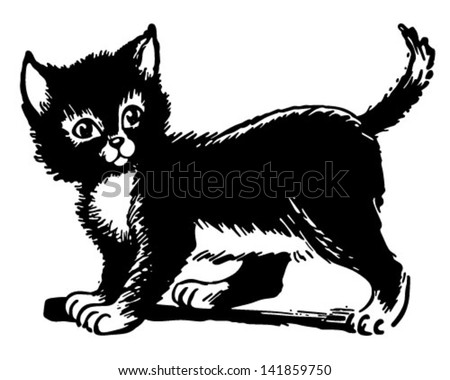Adorable Kitten - Retro Clip Art Illustration - stock vector
