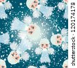 Adorable little angels on the sky / Snow seamless background - stock vector