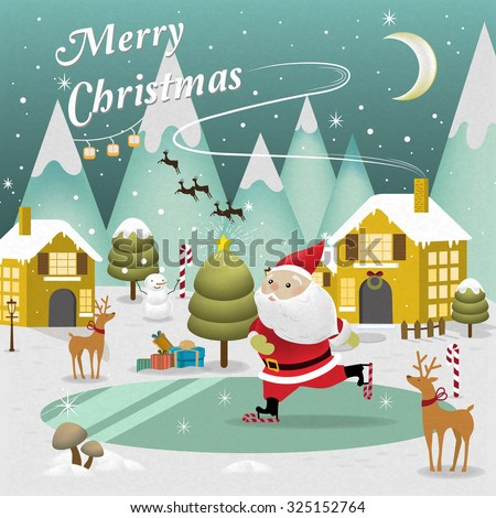 adorable Merry Christmas scenery with Santa Claus skating on lake - stock vector