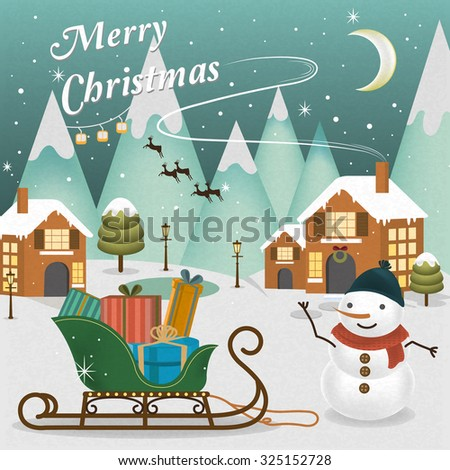 adorable Merry Christmas scenery with snowman waving his hand - stock vector