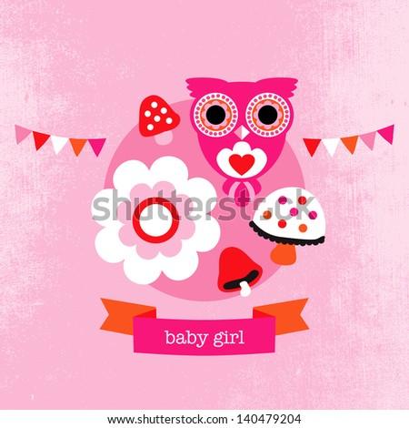 Adorable owl flower blossom illustration little girl baby announcement card template in vector - stock vector