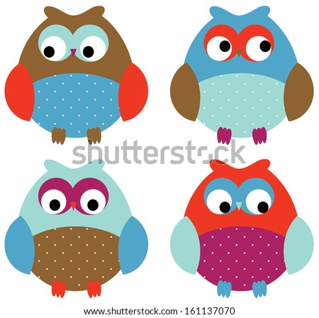 Adorable Owl Set  - stock vector
