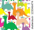 Adorable seamless kids pattern with dinosaurs. Vector illustration - stock vector