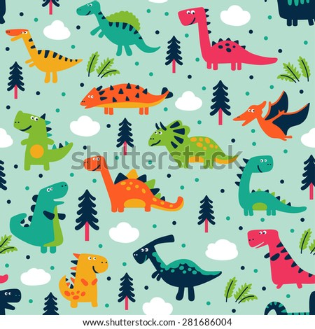 Adorable seamless pattern with funny dinosaurs in cartoon. Seamless pattern can be used for wallpapers, pattern fills, web page backgrounds,surface textures. - stock vector