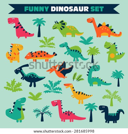 Adorable set with funny dinosaurs in cartoon. - stock vector