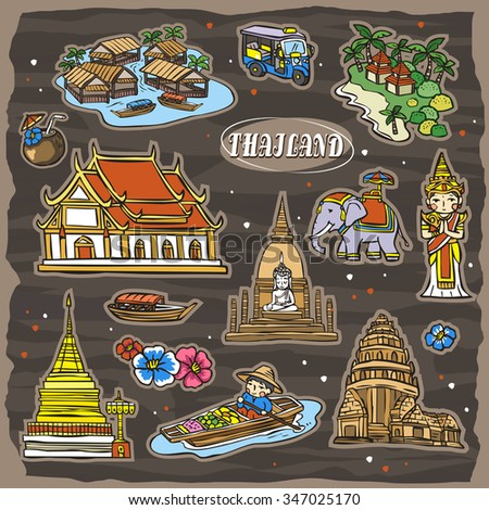 adorable Thailand travel concept collection set in hand drawn style - stock vector