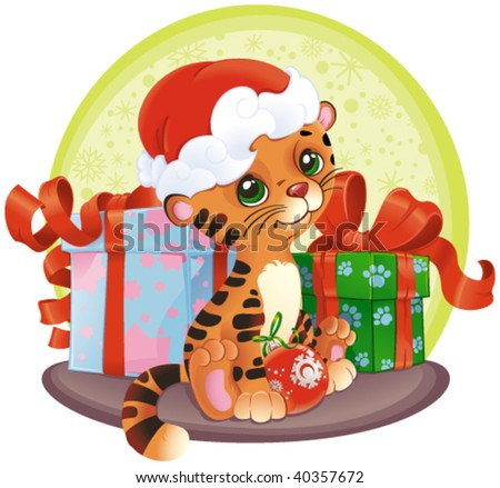 adorable Tiger-cub with Christmas gifts - stock vector