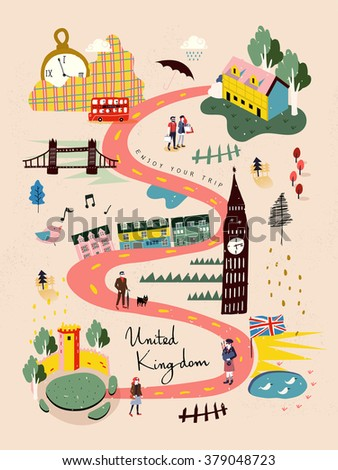 adorable United Kingdom travel map in hand drawn style