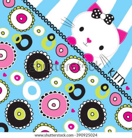 adorable white cat cartoon with flower pattern vector illustration - stock vector