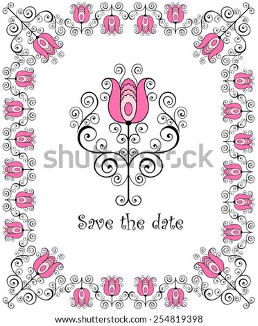 Adornment with tulip - stock vector