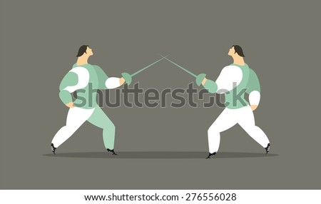 Adult athletes fencing a duel with rapier in suits are fighting - stock vector