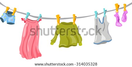adult clothes  on a rope