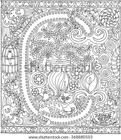 Adult Coloring Book Art Alphabet Letter C Zen Relaxation