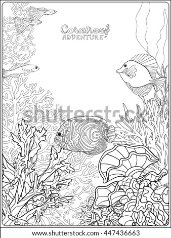 Adult Coloring Book Page With Underwater World Coral Reef Banner Space For