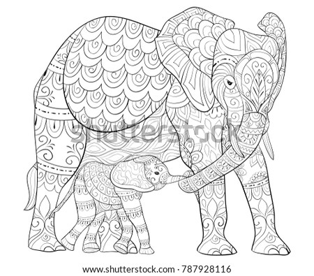 Adult Coloring Bookpage Mother Elephant Her Stock Vector (Royalty ...