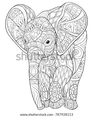Adult Coloring Bookpage Elephantimage Relaxing Zen Stock Vector ...
