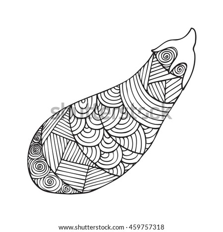 Adult Coloring Book Page Design With A Picture Of An Eggplant For