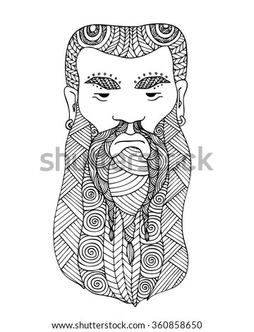 Adult coloring book page design with the face of a Viking. Viking man logo. Coloring book page for adult. Vector illustration in the style of zentangle, doodle, ethnic, tribal design. - stock vector