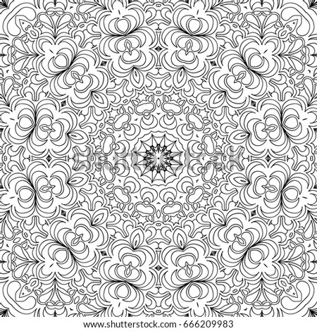 Adult Coloring Book Page Floral Seamless Black And White Pattern For Wallpaper