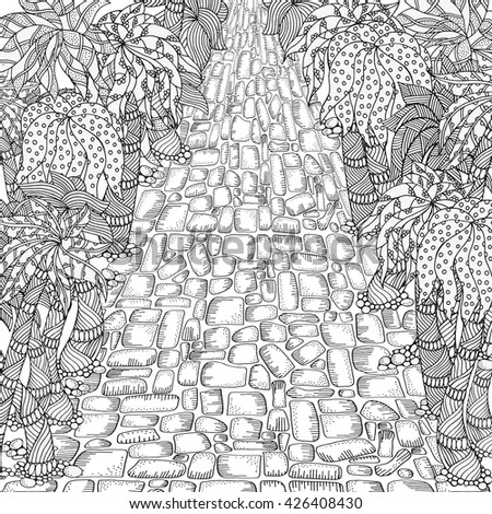 adult coloring book page long road and palm trees ethnic floral doodle some