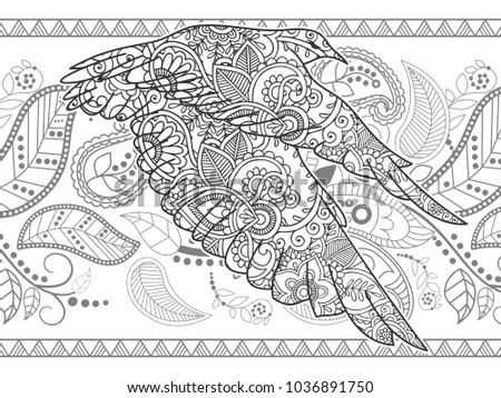 Flying Bird Adult Coloring Book Page