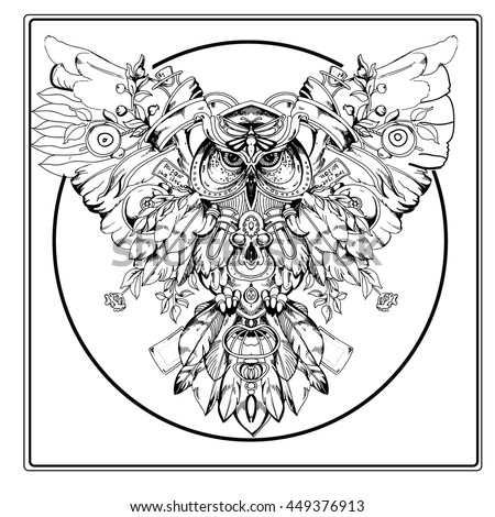 Adult Coloring Book Page Owl Sitting Stock Vector 449376913 ...