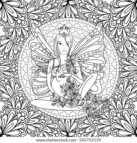 Adult Coloring Book Page With Fairy Pregnant Lady Butterfly Wings Pregnancy In Zentangle Style