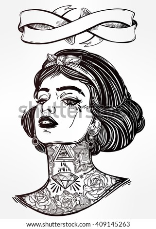 Adult coloring book page with the face of young tattooed girl. Female portrait in flash tattoo style. Isolated vector illustration with ribbon banner and space for text.