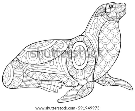 Adult coloring book seal zen art stock vector 591949973 for Seal coloring pages