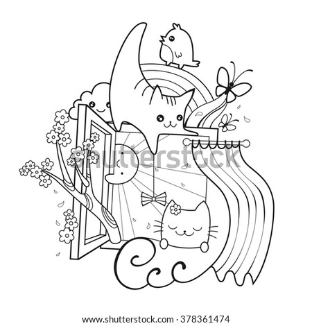 Adult coloring book. Spring hand drawn doodle vector illustration with two beloved cats, sunshine, butterfly, cherry, rainbow and flowers. Cheerful kitten. Vector illustration. - stock vector