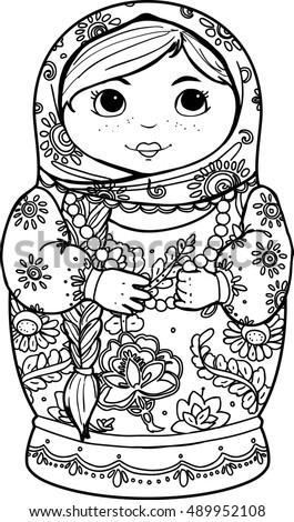 matryoshka doll coloring page - adult coloring books handdrawn matryoshka nested stock