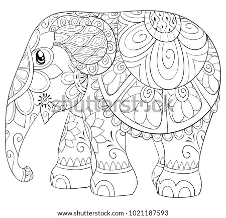 Adult Coloring Pagebook Cute Elephant Relaxing Stock Vector ...