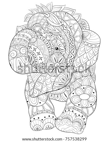 Finished Adult Page Elephant Coloring Pages