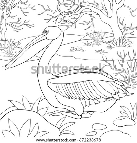 Adult Coloring Page,book A Cute Pelican With Nature Landscape.Line Art  Style Illustration