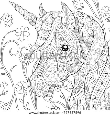 Adult Coloring Pagebook Cute Unicorn On Stock Vector ...