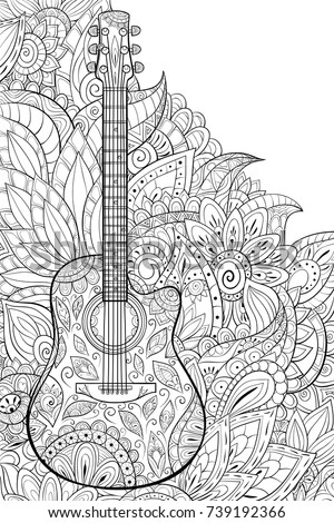 Adult Coloring Pagebook A Guitar With Floral BackgroundZen Art Style Illustration