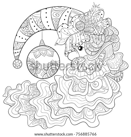 adult coloring pagebook a santa claus with hat and beard for relaxing zen