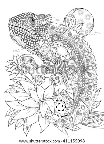 adult coloring page - chameleon bedecked with jewels - stock vector