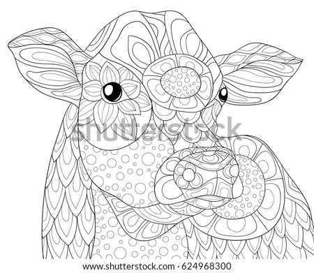 Adult Coloring Page Cow Art Style Stock Photo (Photo, Vector ...