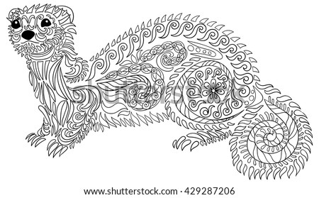 adult coloring page for anti stress art therapy hand drawn ferret in zentangle style