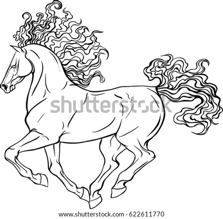 Adult Coloring Page For Antistress Art Therapy Running Horse In Zentangle Style Template