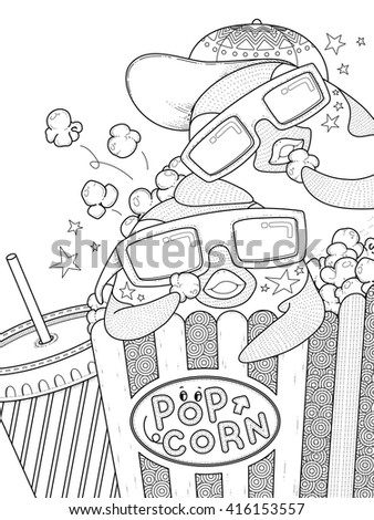 adult coloring page - funny penguin eating popcorn in the cinema