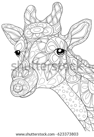 Adult Coloring Page Giraffe Zen Art Style Illustration